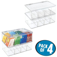Load image into Gallery viewer, Selection mdesign stackable plastic tea bag holder storage bin box for kitchen cabinets countertops pantry organizer holds beverage bags cups pods packets condiment accessories 4 pack clear
