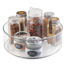 Load image into Gallery viewer, Shop for mdesign plastic lazy susan spinning food storage turntable for cabinet pantry refrigerator countertop spinning organizer for spices condiments baking supplies 9 round 2 pack clear