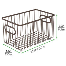 Load image into Gallery viewer, Best seller  mdesign metal farmhouse kitchen pantry food storage organizer basket bin wire grid design for cabinets cupboards shelves countertops closets bedroom bathroom 10 long 4 pack bronze