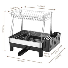 Load image into Gallery viewer, Storage organizer kedsum rust proof stainless dish rack 2 tier detachable dish drying rack with removable utensil holder dish drainer with 360 degrees adjustable swivel spout for kitchen counter