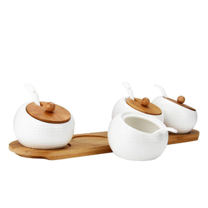 Explore ruckae ceramic condiment jar spice container with bamboo lid porcelain spoon wooden tray set of 4 white 170ml5 8 oz perfect spice storage for home kitchen counter