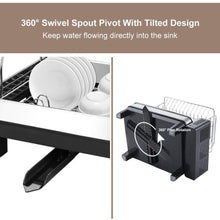 Load image into Gallery viewer, Try kedsum rust proof stainless dish rack 2 tier detachable dish drying rack with removable utensil holder dish drainer with 360 degrees adjustable swivel spout for kitchen counter