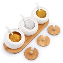 Load image into Gallery viewer, Latest porcelain condiment jar spice container with lids bamboo cap holder spot ceramic serving spoon wooden tray best pottery cruet pot for your home kitchen counter white 170 ml 5 8 oz set of 3