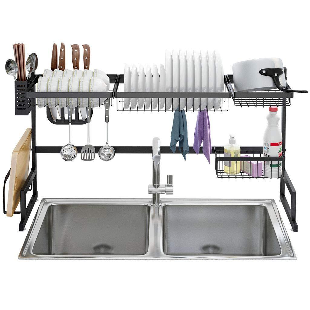 Shop here langria dish drying rack over sink stainless steel drainer shelf professional 2 tier utensils holder display stand for kitchen counter organization fully customizable 37 4 inches width black