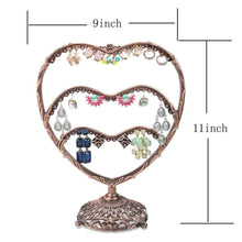 Load image into Gallery viewer, Top earring display botitu 11 inch tall jewelry holder with 58 hooks and 3 tiers earring holder for girls and women jewelry tree perfect for dresser nightstand and countertop jewelry display copper