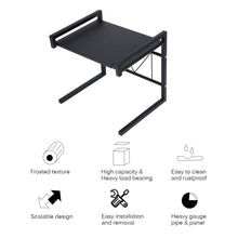 Load image into Gallery viewer, Storage organizer gemitto microwave oven rack expandable carbon steel microwave shelf kitchen counter shelf 2 tiers with 3 hooks 55lbs weight capacity 40 60x36x42cm 15 8 23 6x14 2x16 5 black