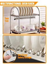 Load image into Gallery viewer, Explore kitchen hardware collection 2 tier dish drying rack stainless steel stand on countertop draining rack 17 9 inch length 16 dish slots organizer with drainboard for cup plate bowl