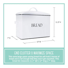 Load image into Gallery viewer, Organize with outshine vintage metal bread bin countertop space saving extra large high capacity bread storage box for your kitchen holds 2 loaves 13 x 10 x 7 white with bread lettering