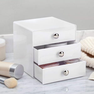 Organize with idesign plastic 3 jewelry box compact storage organization drawers set for cosmetics makeup hair care bathroom office dorm desk countertop 6 5 x 6 5 x 6 5 set of 4 white