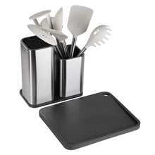 Load image into Gallery viewer, Best tophome cutlery holder set knife block cutting board set kitchen storage silverware caddy organizer table storage utensil drying rack holder for kitchen countertop compartment drainer