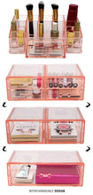 Load image into Gallery viewer, Select nice sorbus acrylic cosmetics makeup and jewelry storage case display sets interlocking drawers to create your own specially designed makeup counter stackable and interchangeable pink 1