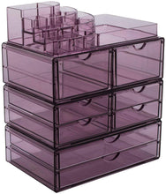 Load image into Gallery viewer, Online shopping sorbus acrylic cosmetics makeup and jewelry storage case x large display sets interlocking scoop drawers to create your own specially designed makeup counter stackable and interchangeable purple 1