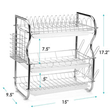 Load image into Gallery viewer, Budget glotoch dish drying rack 3 tier dish rack with utensil holder cup holder and dish drainer for kitchen counter top plated chrome dish dryer silver 17 2 x 9 5 x 15 inch