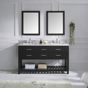 Featured virtu usa caroline estate 60 inch double sink bathroom vanity set in espresso w square undermount sink italian carrara white marble countertop no faucet 2 mirrors md 2260 wmsq es