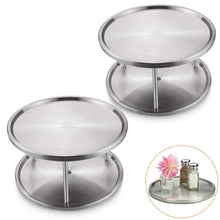 Load image into Gallery viewer, Discover starvast 2 pack 2 tier stainless steel lazy susan turntable 10 inch 360 degree lazy susan spice rack organizer for kitchen cabinet countertop centerpiece