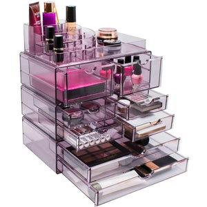 Latest sorbus acrylic cosmetics makeup and jewelry storage case x large display sets interlocking scoop drawers to create your own specially designed makeup counter stackable and interchangeable purple 1