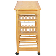 Load image into Gallery viewer, Storage nova microdermabrasion rolling wood kitchen island storage trolley utility cart rack w storage drawers baskets dining stand w wheels countertop wood