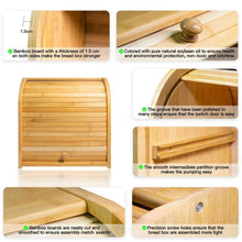 Load image into Gallery viewer, Home bamboo bread box finew 2 layer rolltop bread bin for kitchen large capacity wooden bread storage holder countertop bread keeper with toaster tong 15 x 9 8 x 14 5 self assembly