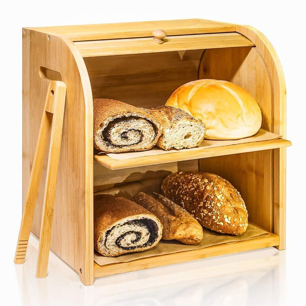 Exclusive bamboo bread box finew 2 layer rolltop bread bin for kitchen large capacity wooden bread storage holder countertop bread keeper with toaster tong 15 x 9 8 x 14 5 self assembly