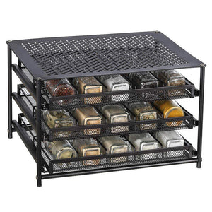 Purchase nex 3 tier standing spice rack kitchen countertop storage organizer adjustable shelf pull out spice rack slide out cabinet for spice jars glass empty cabinets holds 18 24 30 jars brown 30 jars