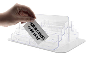 Featured marketing holders counter business card rotating display stand multi pocket spinner space save clear acrylic pockets 16 slot card carousel pack of 24