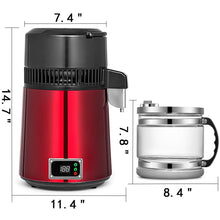 Load image into Gallery viewer, The best vevor countertop water distiller 750w digital panel stainless steel purifier filter 1 1gal 4l glass container perfect for home use red