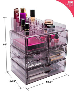 Kitchen sorbus acrylic cosmetics makeup and jewelry storage case x large display sets interlocking scoop drawers to create your own specially designed makeup counter stackable and interchangeable purple 1