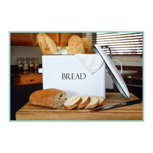 Load image into Gallery viewer, On amazon outshine vintage metal bread bin countertop space saving extra large high capacity bread storage box for your kitchen holds 2 loaves 13 x 10 x 7 white with bread lettering