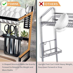 Save dish drying rack over the sink tsmine large dish drainers for kitchen counter stainless steel drain bowl dish rack kitchen supplies storage shelf utensils holder with 7 utility holder hooks