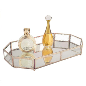 Budget hersoo large classic vanity tray ornate decorative perfume elegant mirrorred tray for skincare dresser vintage organizer for bathroom countertop bathroom accessories organizer brass