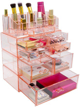 Load image into Gallery viewer, Related sorbus acrylic cosmetics makeup and jewelry storage case display sets interlocking drawers to create your own specially designed makeup counter stackable and interchangeable pink 1