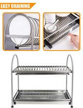 Load image into Gallery viewer, Discover kitchen hardware collection 2 tier dish drying rack stainless steel stand on countertop draining rack 17 9 inch length 16 dish slots organizer with drainboard for cup plate bowl