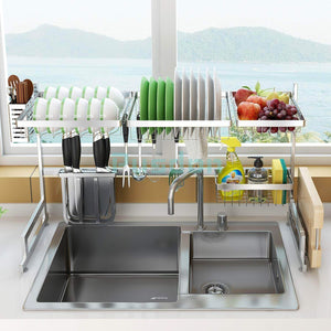 Order now dish drying rack over sink drainer shelf for kitchen supplies storage counter organizer utensils holder stainless steel display kitchen space save must have sink size 33 1 2 inch silver