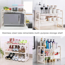 Load image into Gallery viewer, Shop expandable under sink rack 2 tier adjustable multifunctional countertop storage microwave rack shelving unit multipurpose tidy organizer storage shelf for kitchen bathroom and garden