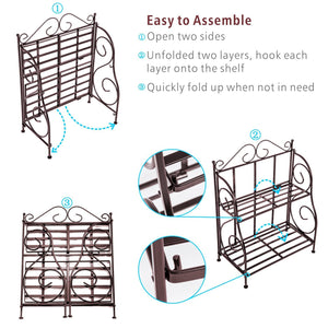 New packism storage rack 2 tier bathroom organizer foldable spice rack for kitchen countertop jars storage organizer counter shelf bronze