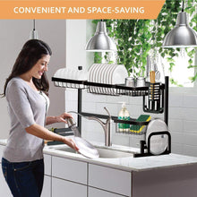 Load image into Gallery viewer, Purchase dish drying rack over the sink tsmine large dish drainers for kitchen counter stainless steel drain bowl dish rack kitchen supplies storage shelf utensils holder with 7 utility holder hooks