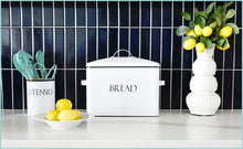 Load image into Gallery viewer, Products outshine vintage metal bread bin countertop space saving extra large high capacity bread storage box for your kitchen holds 2 loaves 13 x 10 x 7 white with bread lettering