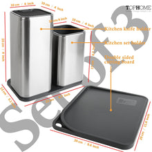 Load image into Gallery viewer, Top rated tophome cutlery holder set knife block cutting board set kitchen storage silverware caddy organizer table storage utensil drying rack holder for kitchen countertop compartment drainer