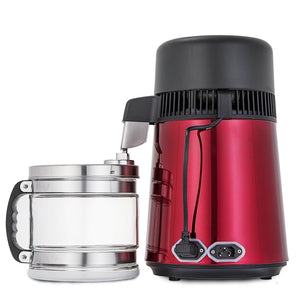 New vevor countertop water distiller 750w stainless steel purifier filter with handle 1 1 gal 4l glass container perfect for home use red