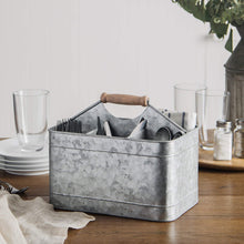 Load image into Gallery viewer, Discover elegant home galvanized flatware caddy organizer for kitchen counter top outdoor storage dining table comfortable handle rectangular
