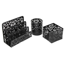 Load image into Gallery viewer, Get 3 piece mesh office organizer desk accessories set can be used on desktop table counter in kitchen at work black
