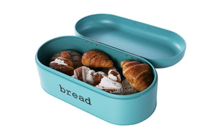 New large bread box for kitchen counter bread bin storage container with lid metal vintage retro design for loaves sliced bread pastries teal 17 x 9 x 6 inches