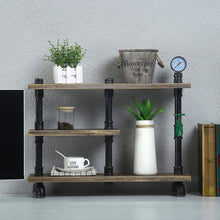 Load image into Gallery viewer, Related mbqq 3 tier industrial pipe wood shelf desk organizer 24 office organization and storage shelf desktop display shelves flower stand kitchen shelf countertop bookcase desktop racks