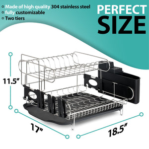 Best customizable two tier dish rack stainless steel professional drainer for counter or over the sink with drain board microfiber mat dispensing dish brush includes 2 free e books and mobile stand