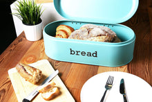 Load image into Gallery viewer, Latest large bread box for kitchen counter bread bin storage container with lid metal vintage retro design for loaves sliced bread pastries teal 17 x 9 x 6 inches