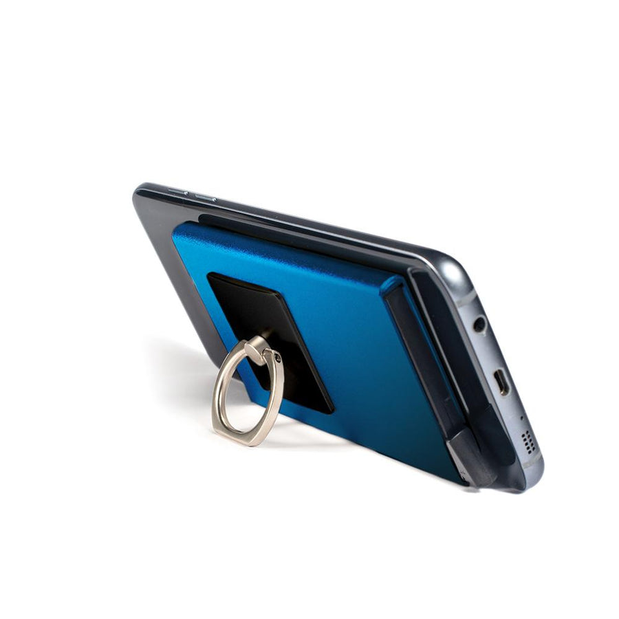 iGripz Deluxe in Blue phone ring multipurpose wallet for all phone device iphone android samsung one size fit all hold 6 credit cards ID removable metallic high quality