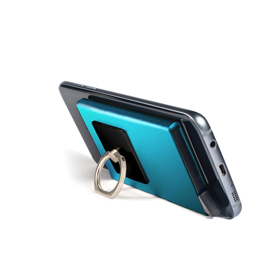 iGripz Deluxe in Cyan phone ring multipurpose wallet for all phone device iphone android samsung one size fit all hold 6 credit cards ID removable metallic high quality