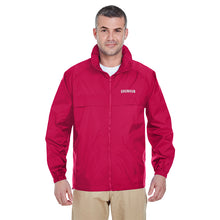 Load image into Gallery viewer, Water Resistant Full-Zip Hooded Pack-Away Windbreaker