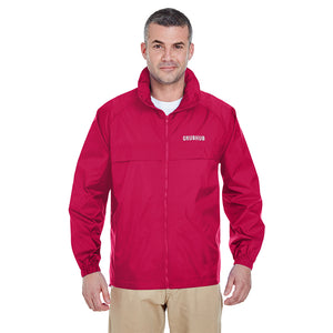 Water Resistant Full-Zip Hooded Pack-Away Windbreaker