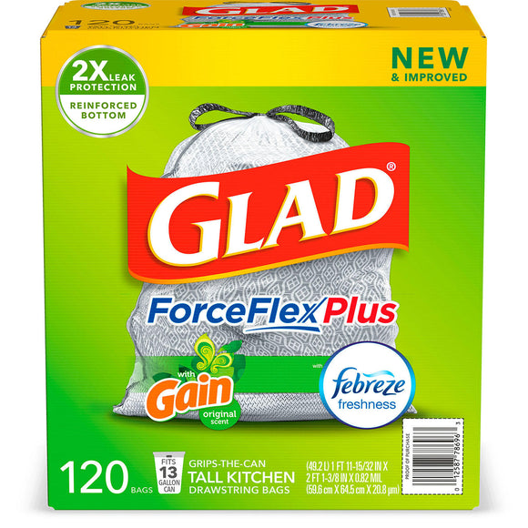 Glad® Tall Kitchen Drawstring Trash Bags – Force Flex Plus™ 13 Gallon White Trash Bag, Gain Original with Febreze Freshness – 120 Count